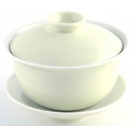 Gaiwan 150 ml en porcelaine de couleur jaune très pâle