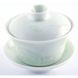 Gaiwan 110 ml couleur jade très claire et légers reliefs