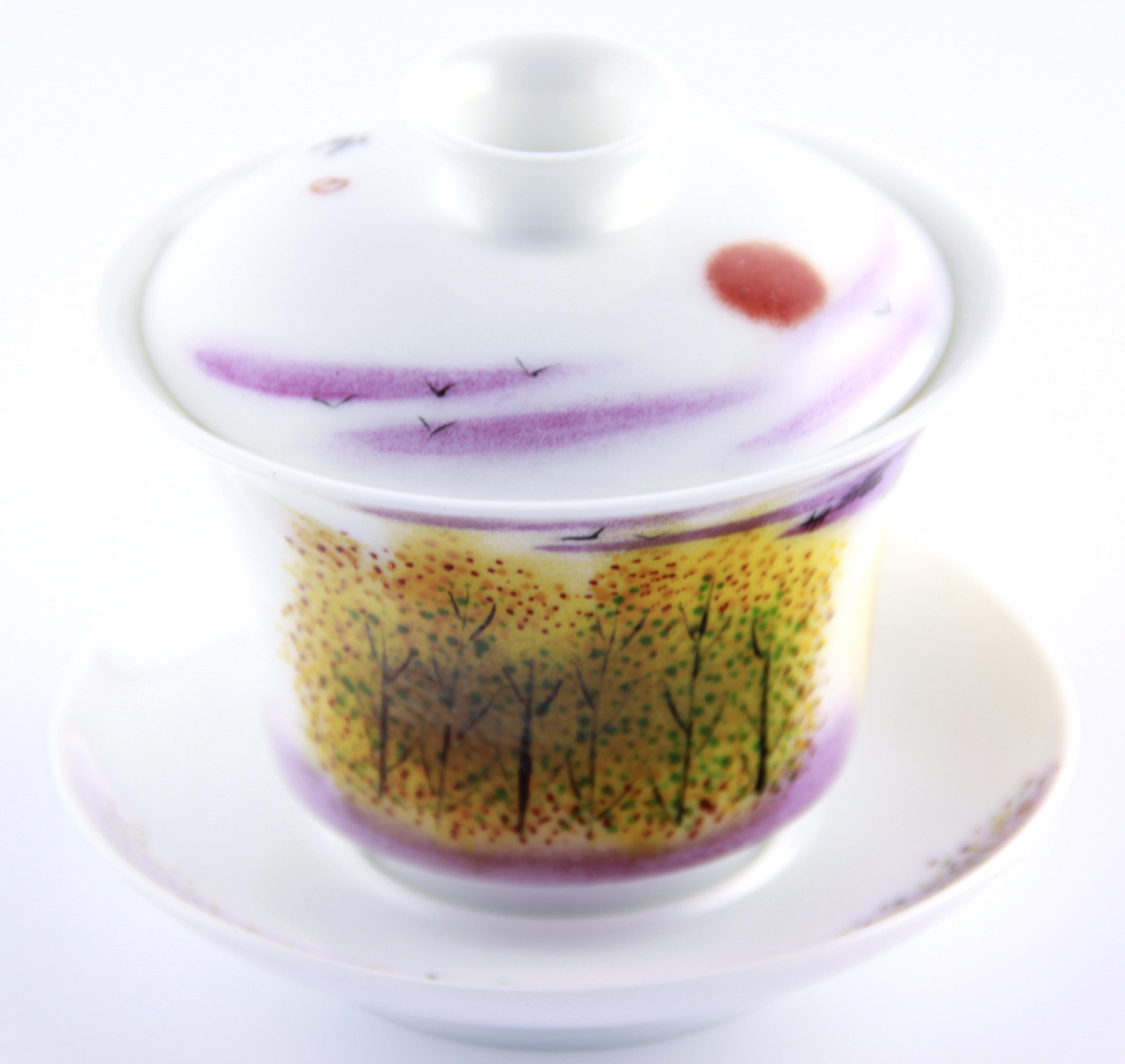 Gaiwan en porcelaine 140 ml au décor automnal