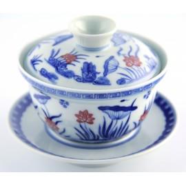 Gaiwan Qing Hua 130 ml avec fleurs de lotus en couleur