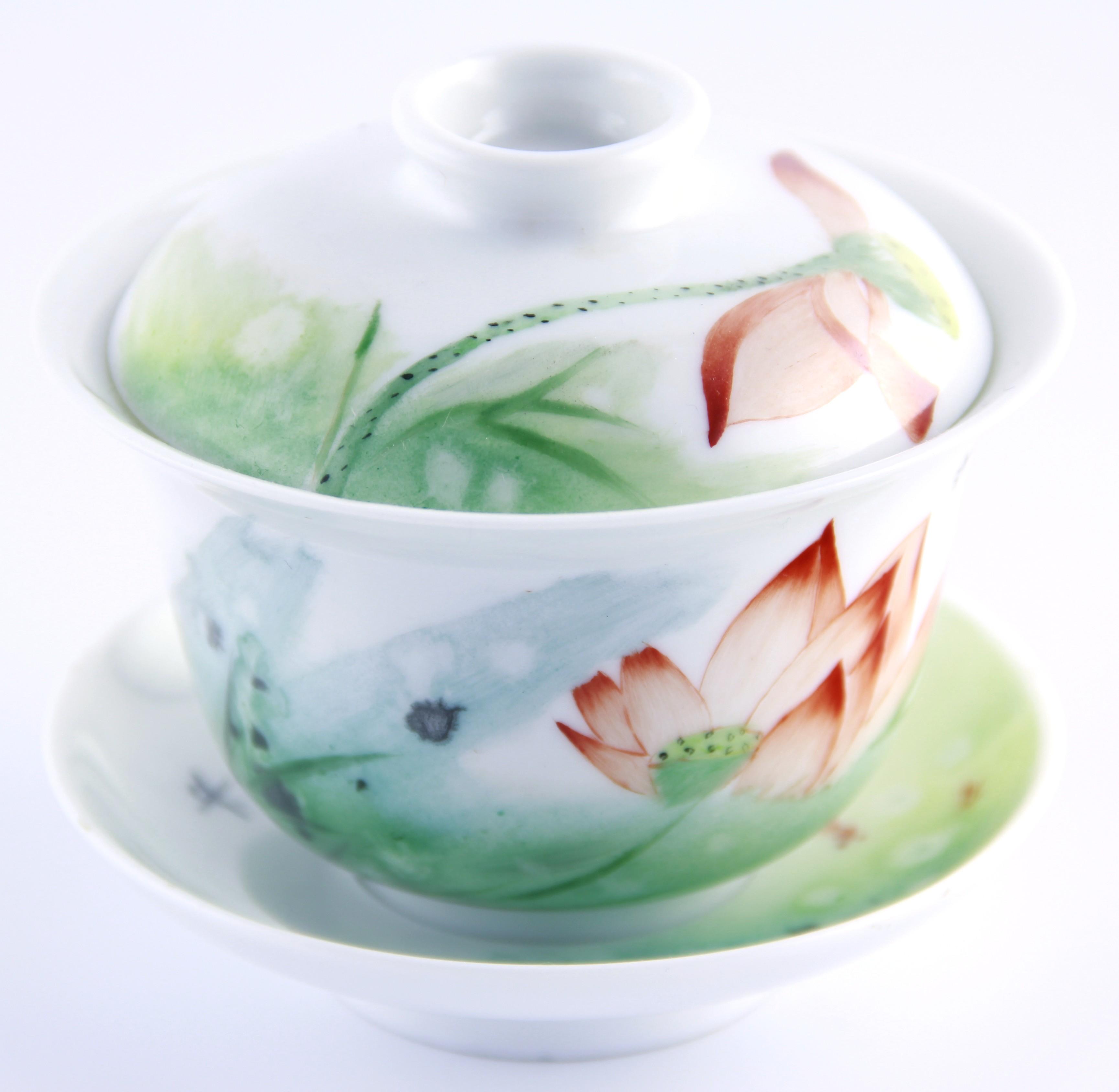 Gaiwan 200 ml orné d'un lotus couleur ocre
