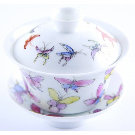 Gaiwan avec papillons de couleurs