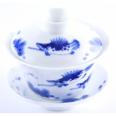 Gaiwan Qing Hua en porcelaine de Jingdezhen 100 ml