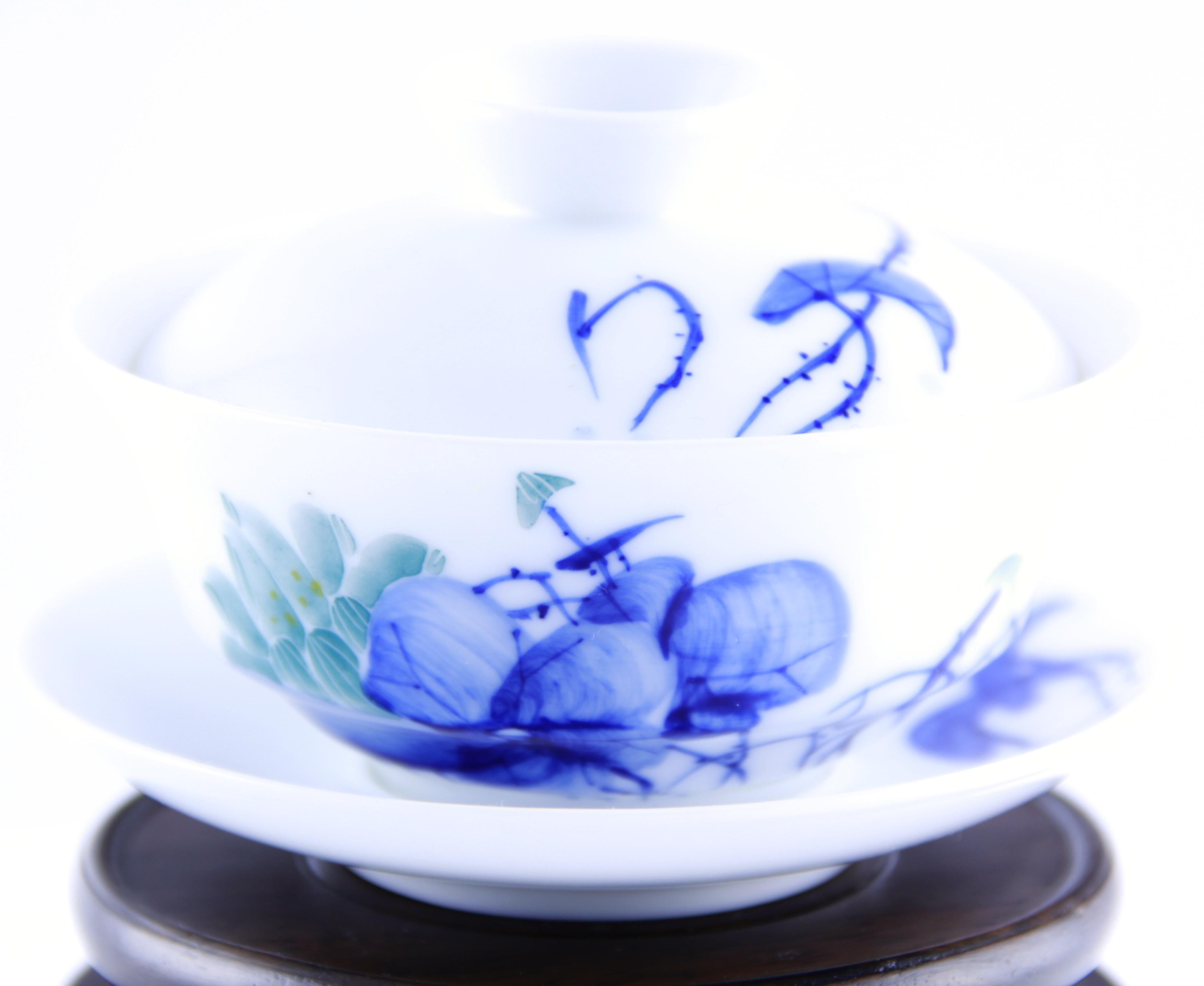Gaiwan 110 ml Qing Hua en porcelaine de Jingdezhen