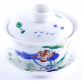 Gaiwan en porcelaine 100 ml avec lotus sur tiges