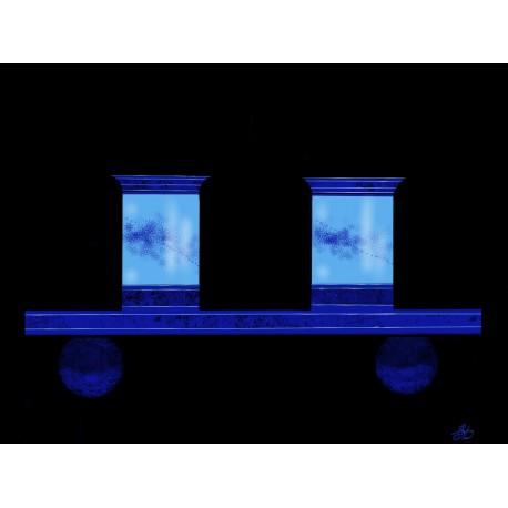 Création digitale sur aluminium - coupes bleues à thé