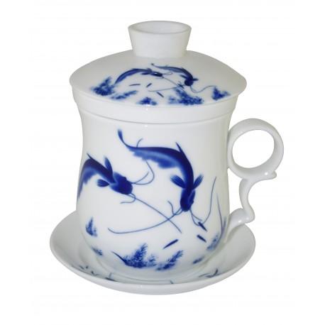 Mug à thé en porcelaine de Jingdezhen avec couvercle et infuseur