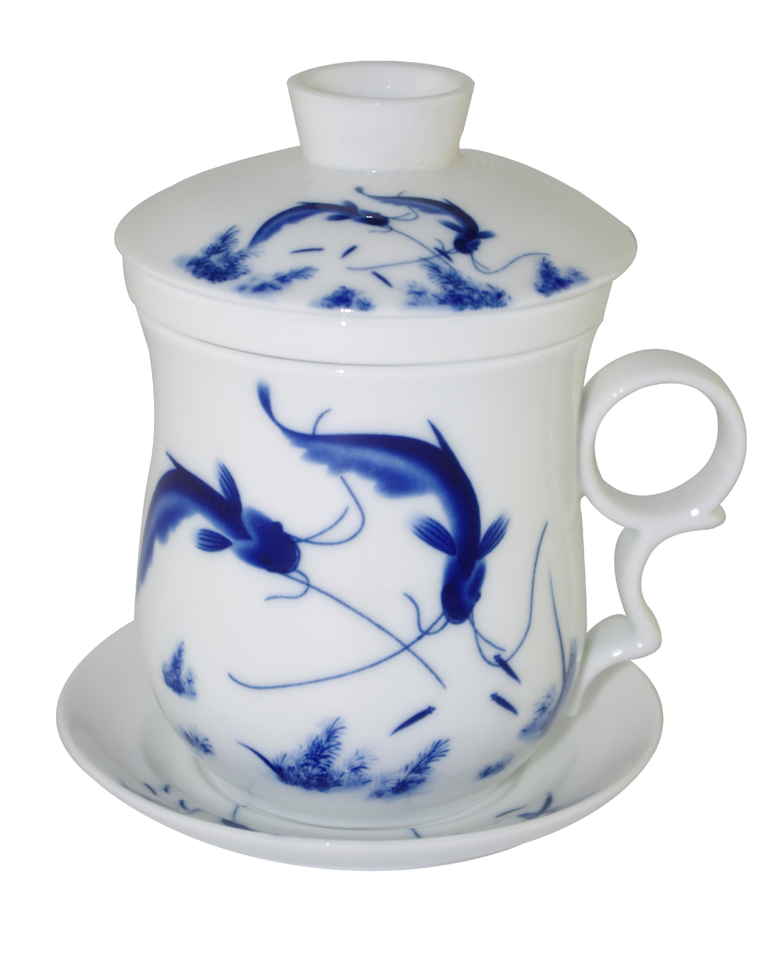 Mug à thé en porcelaine avec couvercle et infuseur 310 ml