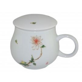 Mug à thé en porcelaine avec couvercle et infuseur 320 ml