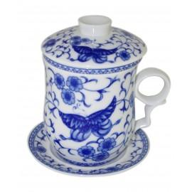Mug à thé en porcelaine chinoise avec couvercle et infuseur 310 ml