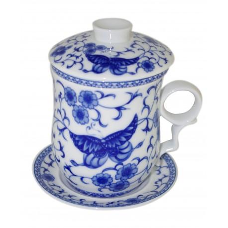 Mug à thé en porcelaine chinoise avec couvercle et infuseur 330 ml