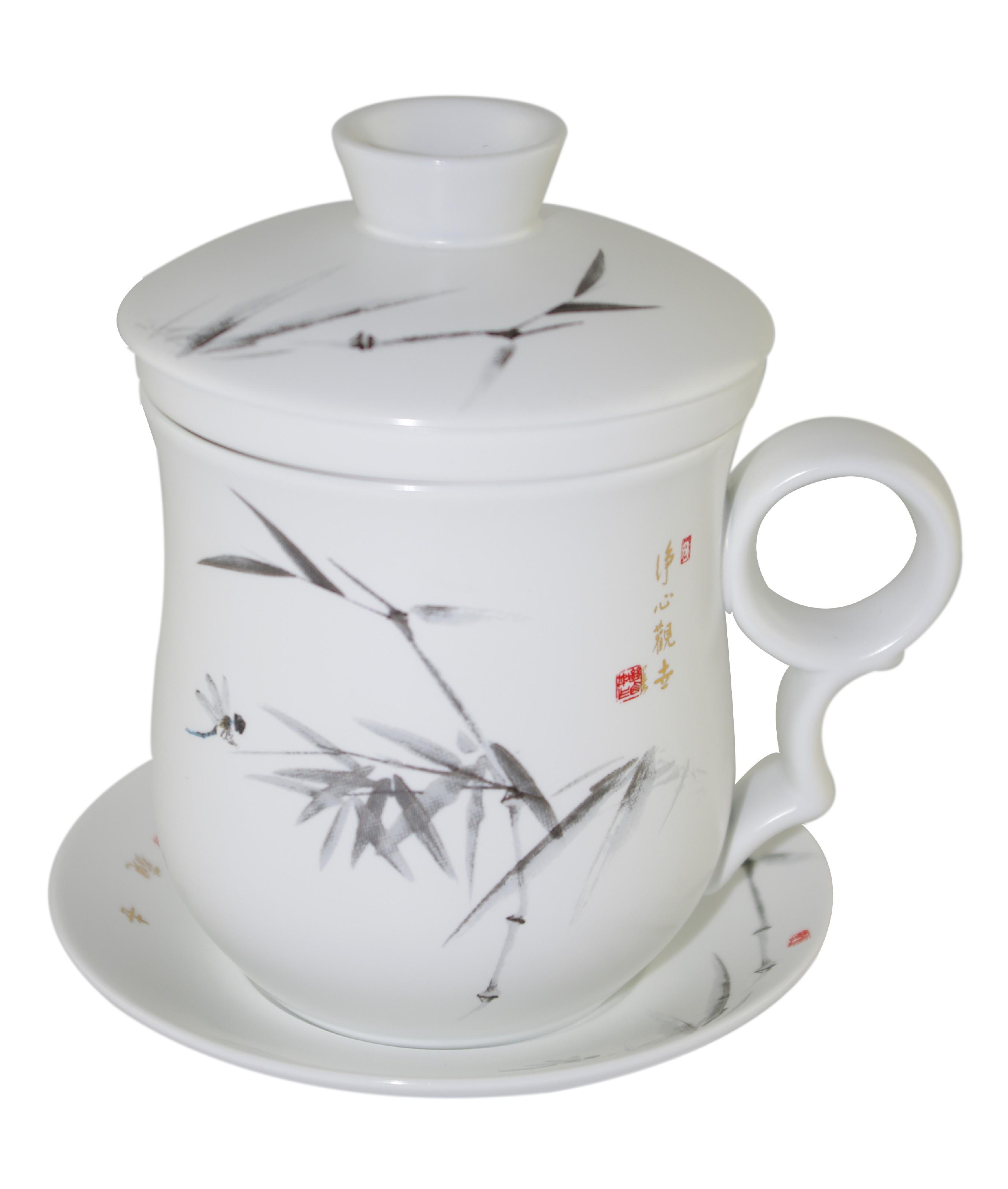 Mug à thé en porcelaine satinée avec couvercle et infuseur 310 ml