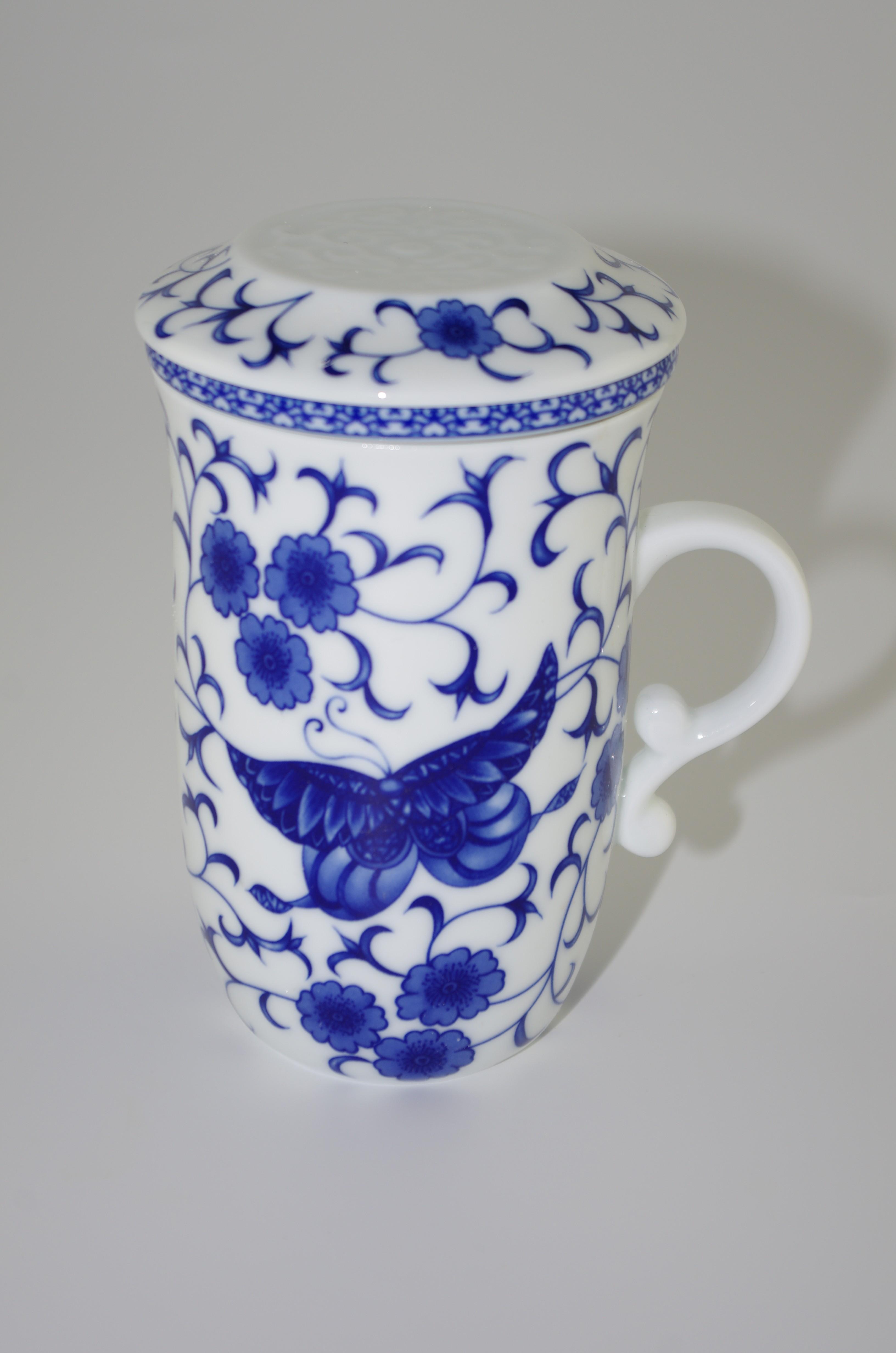 Tasse à thé en porcelaine chinoise avec infuseur et couvercle 250 ml