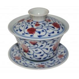 Gaiwan en porcelaine fleurs de grenade 125 ml