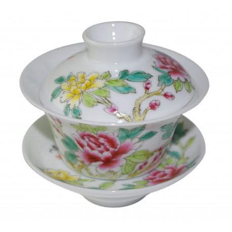 Gaiwan en porcelaine peint à la main, de style Famille Rose 100 ml