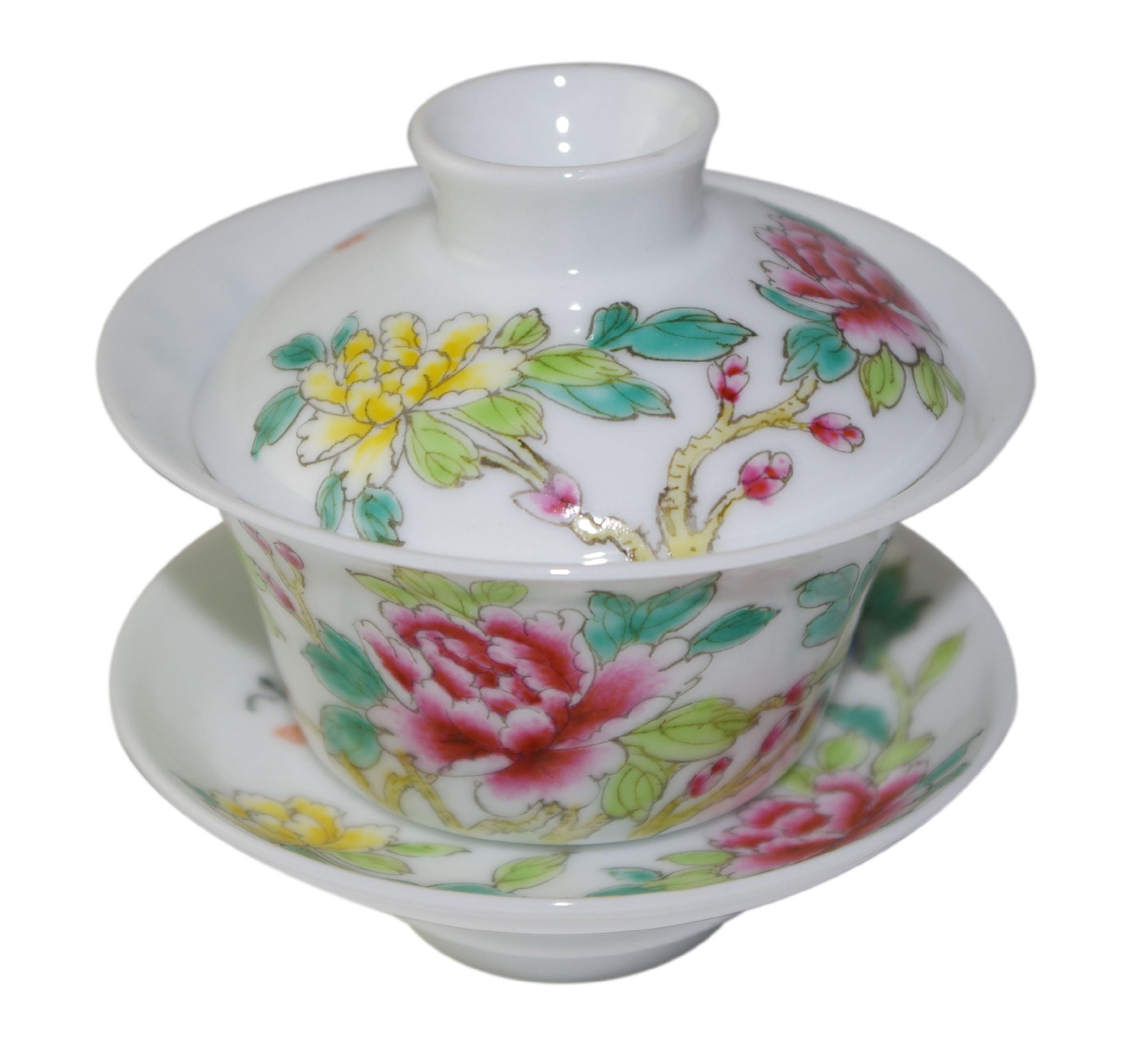 Gaiwan en porcelaine, style Famille Rose 100 ml décoré de pivoines