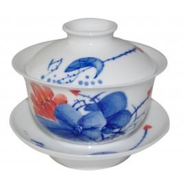 Gaiwan en porcelaine, peint à la main, fleur de lotus 155 ml
