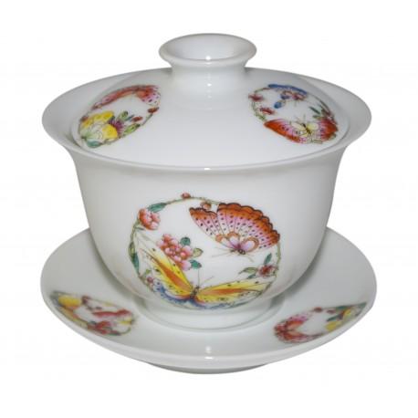 Gaiwan en porcelaine peint à la main, décoré de superbes papillons 155 ml