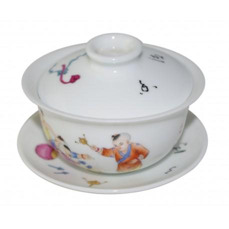 Gaiwan en porcelaine peint à la main 130 ml