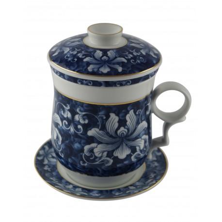 Mug à thé en porcelaine avec couvercle et infuseur 310 ml décoré d'orchidées, le set est composé de 4 pièces