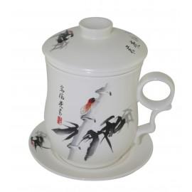 Mug à thé en porcelaine avec couvercle et infuseur décoré d'une cigale 320 ml