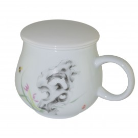 Mug à thé en porcelaine avec couvercle et infuseur 315 ml