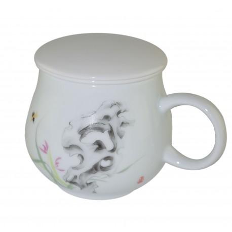 Mug à thé en porcelaine avec couvercle et infuseur 320 ml décoré d'une décalcomanie vitrifiée