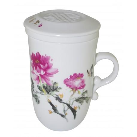 Tasse à thé en porcelaine avec couvercle et infuseur 250 ml