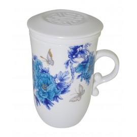 Tasse à thé en porcelaine de Jingdezhen avec infuseur et couvercle 250 ml