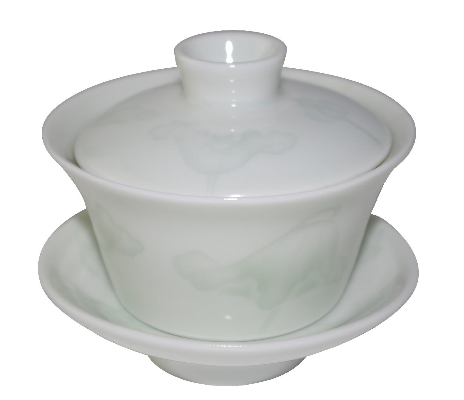 Gaiwan en porcelaine 120 ml de couleur jade avec décorations en reflet
