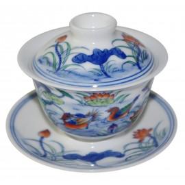 Gaiwan en porcelaine 115 ml  canards mandarins et lotus (set A)