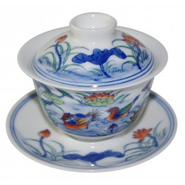 Gaiwan en porcelaine 115 ml  canards mandarins et lotus (set A)