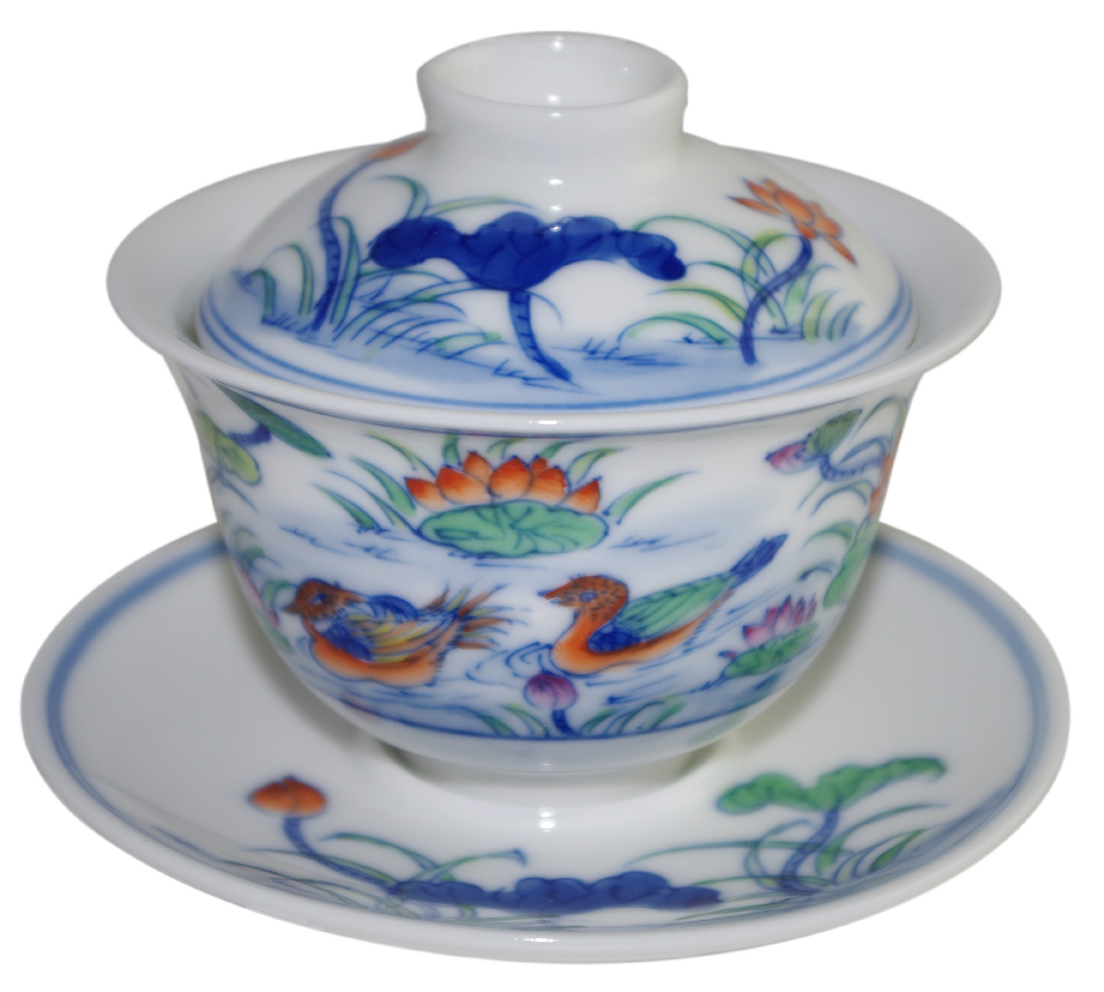 Gaiwan en porcelaine 115 ml  canards mandarins et lotus (set B)