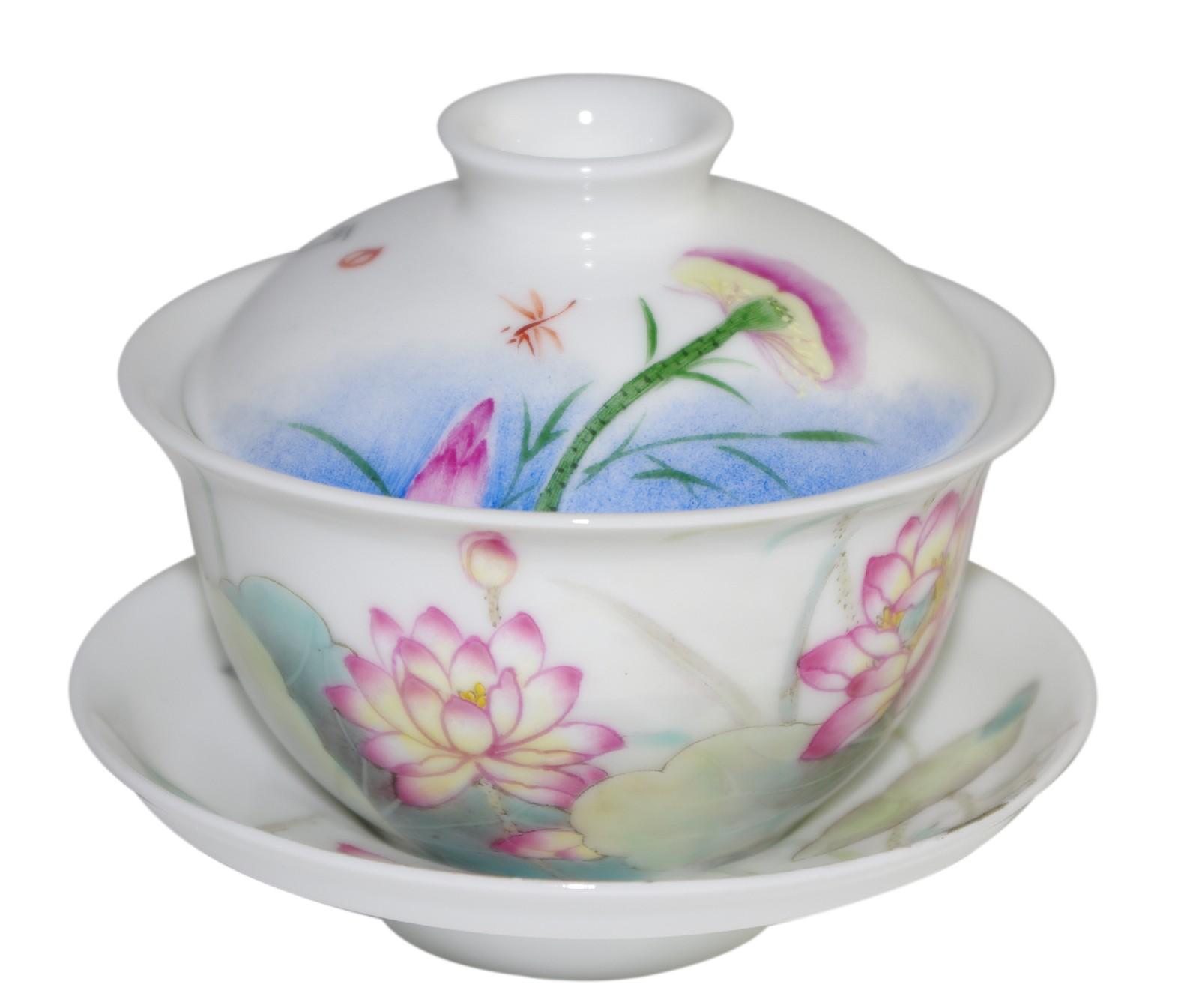 Gaiwan en porcelaine décoré de lotus 130 ml