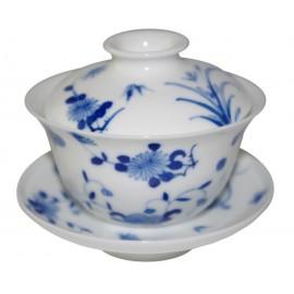 Gaiwan de style Qin Hua décoré de diverses fleurs 150 ml