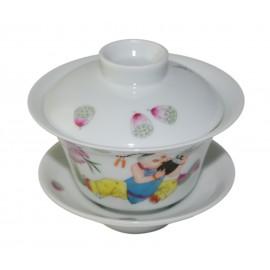 Gaiwan en porcelaine 100 ml orné d'un enfant jouant du sheng