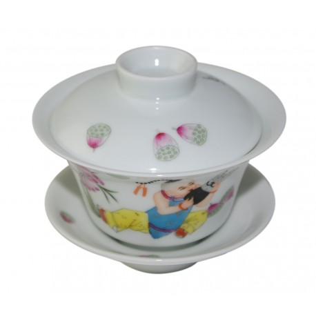 Gaiwan en porcelaine avec enfant jouant du sheng 100 ml