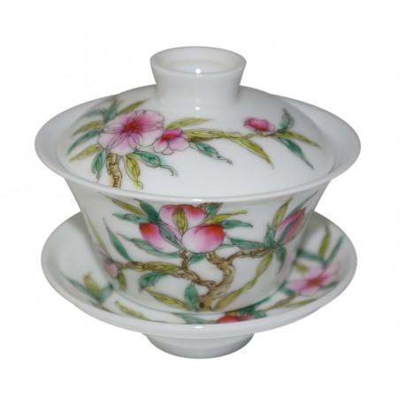 Gaiwan de style Famille Rose décoré de fleurs de prunier 100 ml