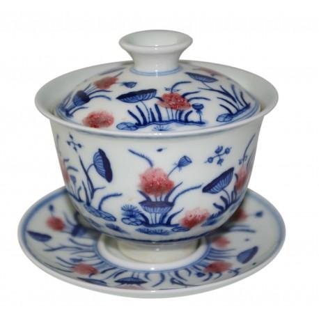 Gaiwan en porcelaine peint à la main - Fruits de lotus et fleurs stylisées 145 ml