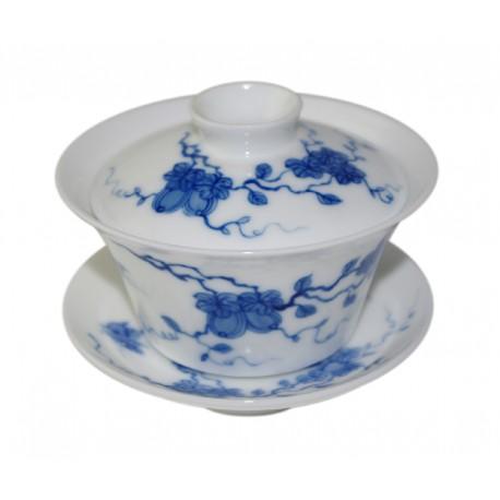 Gaiwan en porcelaine de style Qing Hua décoré de melons et papillons
