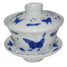 Gaiwan en porcelaine de style Qin Hua décoré de papillons 125 ml