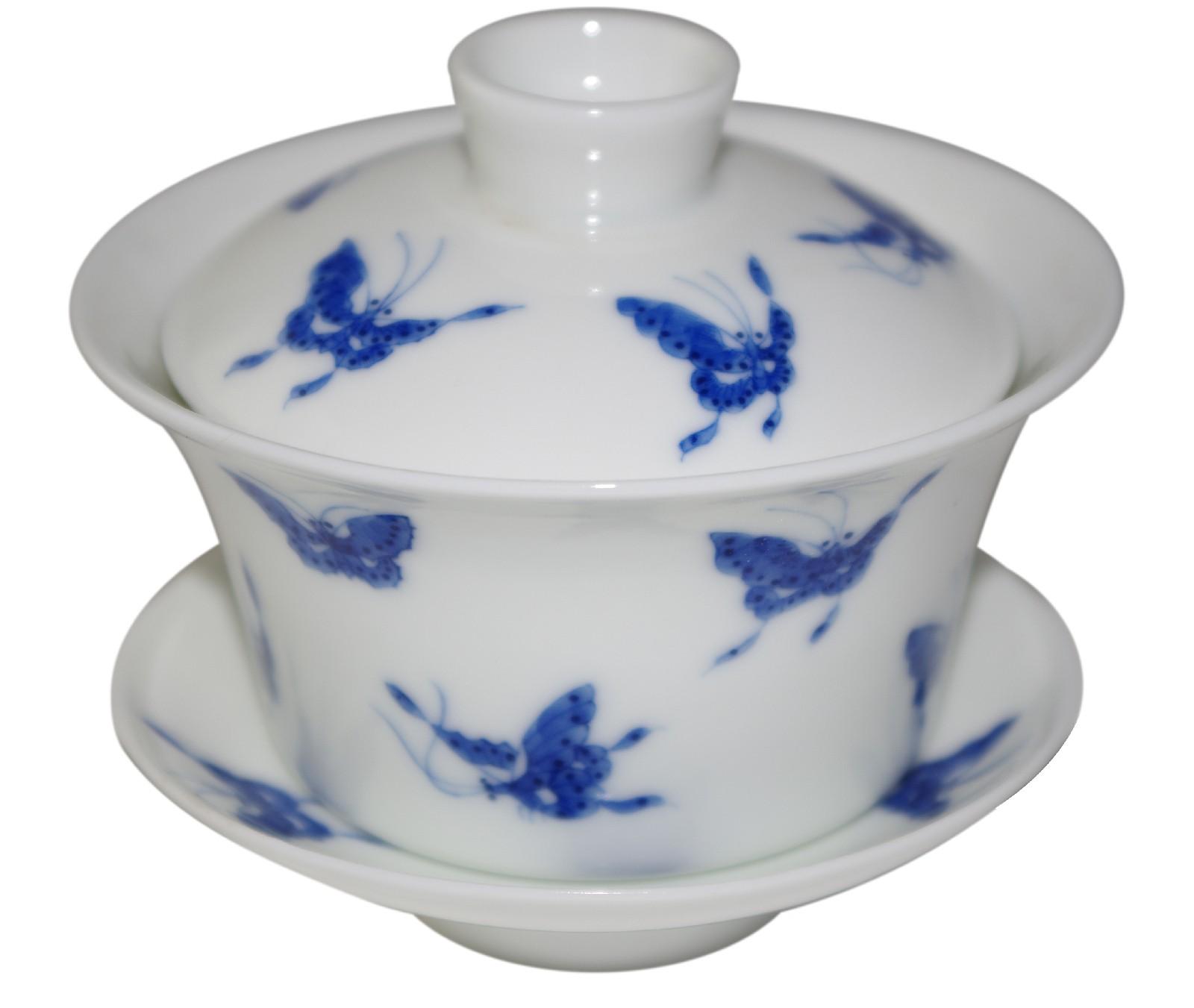 Gaiwan en porcelaine blanche, décoré de papillons bleus 150 ml