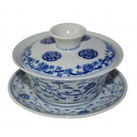 Gaiwan Qin Hua avec arabesque et décor chinois 125 ml