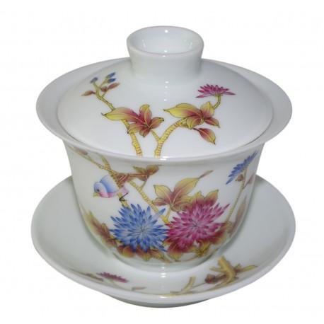 Grand gaiwan en porcelaine peint à la main aux traits fins et précis 190 ml