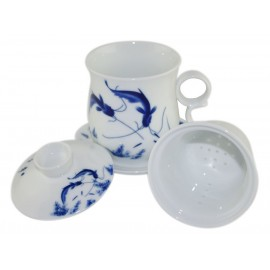 Mug à thé en porcelaine avec couvercle et infuseur